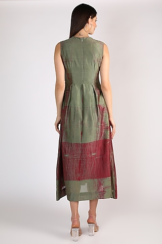 Green Hand Embroidered Dress by The Loom art