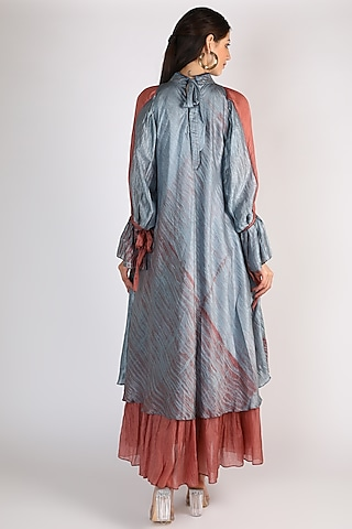 Powder Blue Embroidered Long Dress by The Loom art