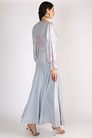 Powder Blue Hand Embroidered Dress by The Loom art