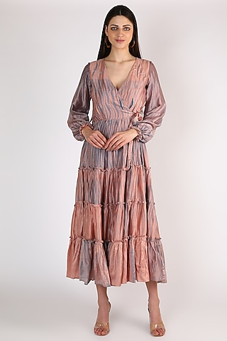 Pink Embroidered Overlap Dress by The Loom art