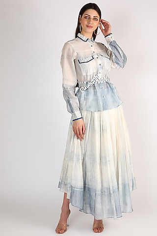 White Long Skirt With Embroidered Belt by The Loom art