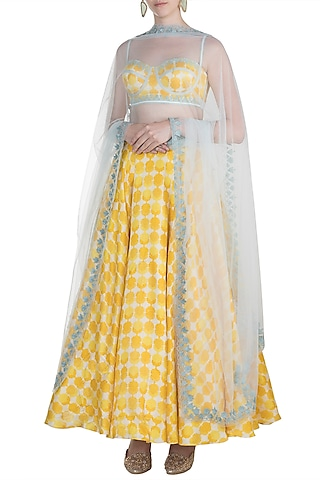 Yellow Embroidered Printed Lehenga Set by The little black bow
