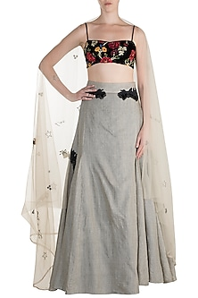 Grey Embroidered Lehenga Set by The little black bow