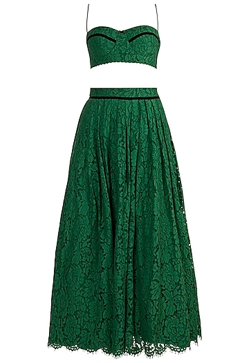 Emerald Green Lace Lehenga Set by The little black bow