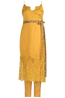 Mango Yellow Embroidered Kurta Set by The little black bow
