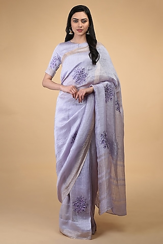 Lilac Floral Embroidered Saree Set by Talking Threads