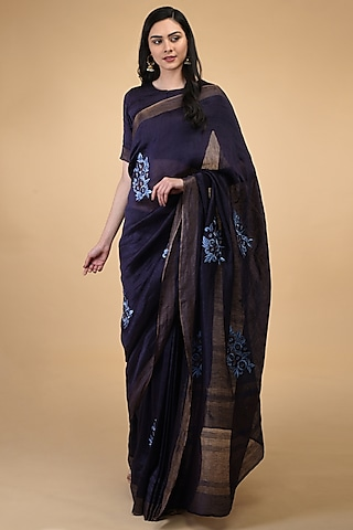 Blue Floral Embroidered Saree Set by Talking Threads