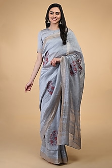 Dove Grey Thread Embroidered Saree Set by Talking Threads