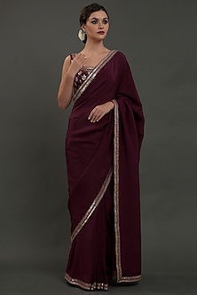 Burgundy Hand Embroidered Saree Set by Talking Threads