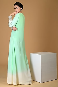 Sage Green Embroidered Gown by Talking Threads