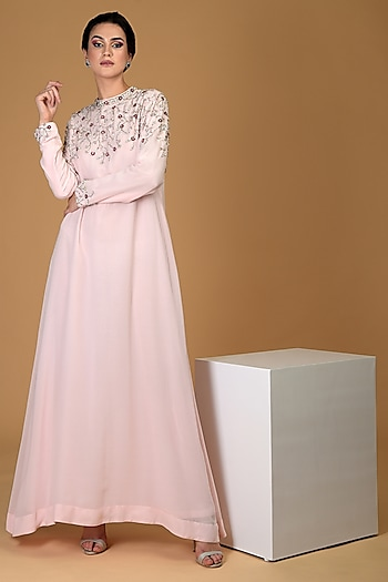 Pale Pink Embroidered Gown by Talking Threads