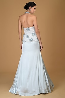 Powder Blue Embroidered Peplum Gown by Talking Threads