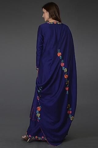 Princess Blue Embroidered Kurta Set by Talking Threads