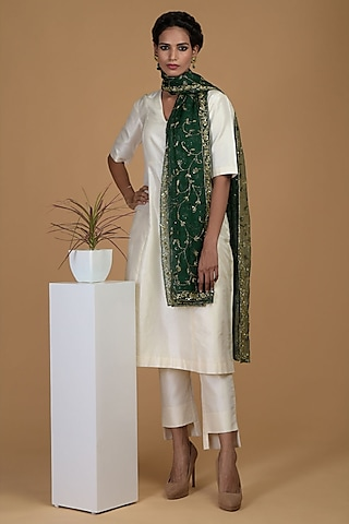 White Sequins Embroidered Kurta Set by Talking Threads
