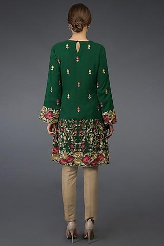 Bottle Green Parsi Gara Embroidered Tunic Set by Talking Threads