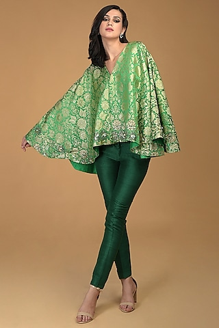 Kelly Green Embroidered Jacket Set by Talking Threads