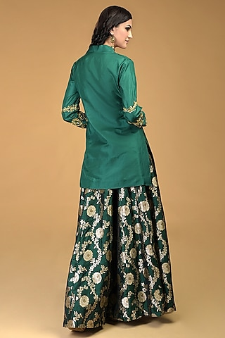 Emerald Green Embroidered Sharara Set by Talking Threads