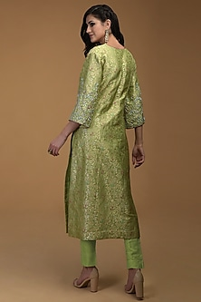 Pista Green Embroidered Kurta With Pants by Talking Threads