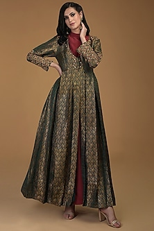 Bottle Green Embroidered Silk Jacket by Talking Threads