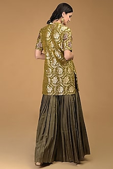 Olive Green Embroidered Gharara Set by Talking Threads