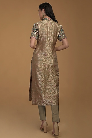 Taupe Green Embroidered Kurta With Pants by Talking Threads