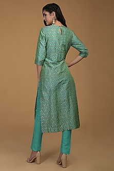 Sea Green Embroidered Kurta With Pants by Talking Threads