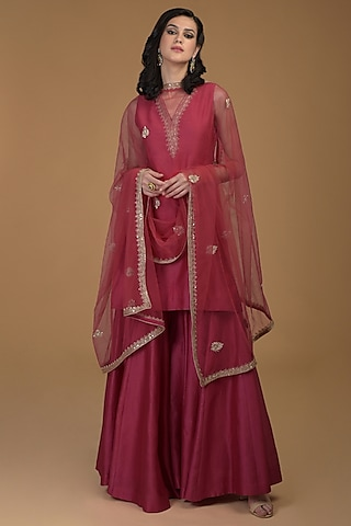 Ruby Red Embroidered Gharara Set by Talking Threads