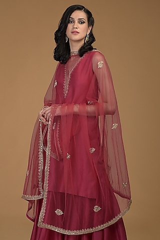 Ruby Red Embroidered Dupatta by Talking Threads