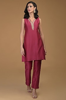 Ruby Red Embroidered Kurta With Pants by Talking Threads