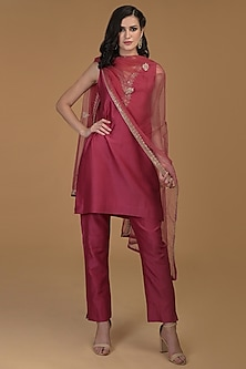 Ruby Red Embroidered Kurta Set by Talking Threads