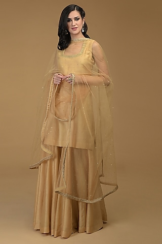 Nude Gold Embroidered Gharara Set by Talking Threads