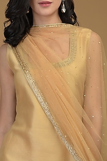 Nude Gold Embroidered Kurta Set by Talking Threads