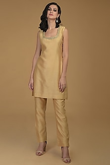 Nude Gold Embroidered Kurta With Pants by Talking Threads