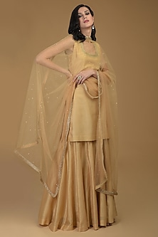 Nude Gold Embroidered Dupatta by Talking Threads