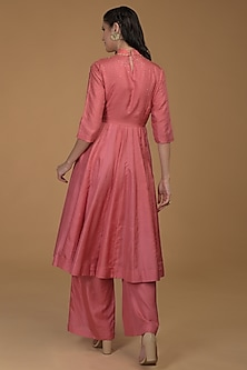 charcoal Grey Embroidered Kurta With Pants by Talking Threads