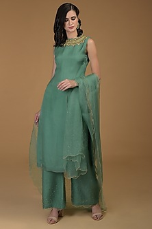Turquoise Embroidered Kurta With Pants by Talking Threads