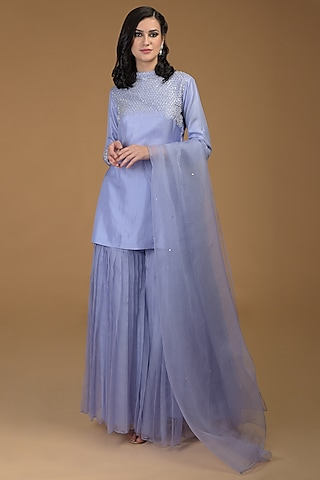 Lilac Embroidered Gharara Set by Talking Threads