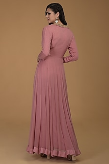 Rose Pink Embroidered Anarkali Set by Talking Threads