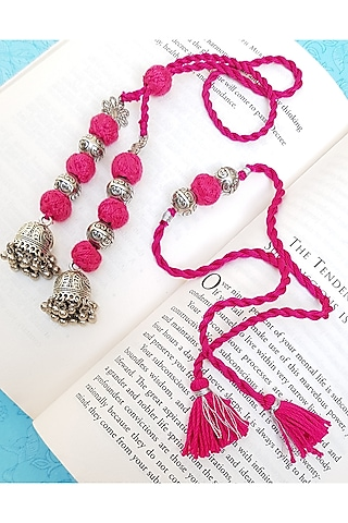 Pink Handcrafted Oxidised Jhumka Lumba Set by THE LITTLE SOUVENIR