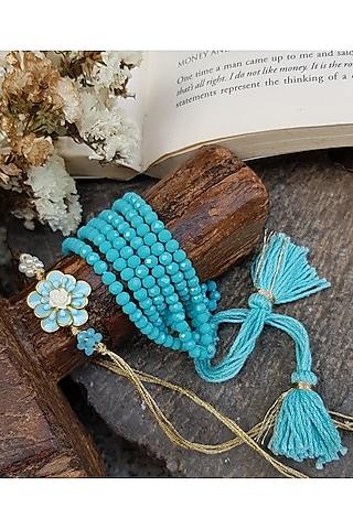 Blue Floral Beaded Bracelet Rakhi by THE LITTLE SOUVENIR