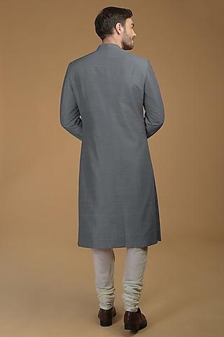 Steel Grey Anchan Sherwani Set by Talking Threads Men