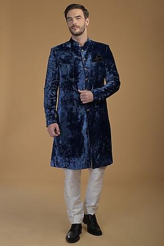 Eclipse Blue Sherwani Set by Talking Threads Men
