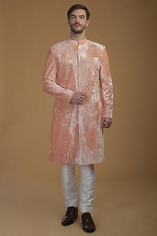 Peach Silk Velvet Sherwani Set by Talking Threads Men