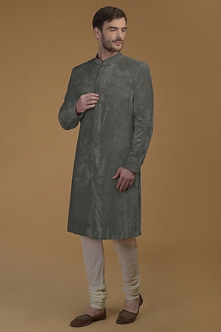 Grey Silk Velvet Sherwani Set by Talking Threads Men