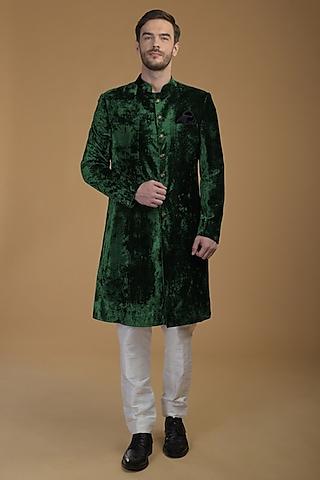 Emerald Green Velvet Sherwani Set by Talking Threads Men