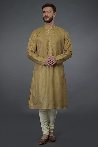 Golden Embroidered Kurta Set by Talking Threads Men