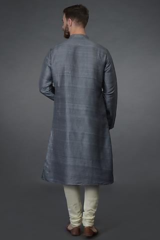 Grey Embroidered Kurta Set by Talking Threads Men