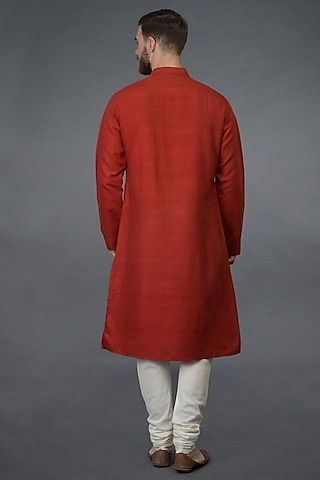 Red Embroidered Kurta Set by Talking Threads Men