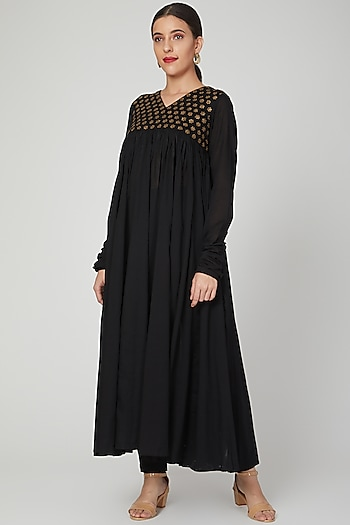 Black Embroidered Dress With Pants by THE LABEL UNTOLD