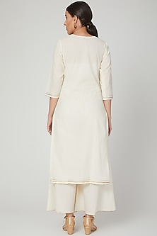 Beige Gota Embroidered Cotton Mul Kurta by THE LABEL UNTOLD